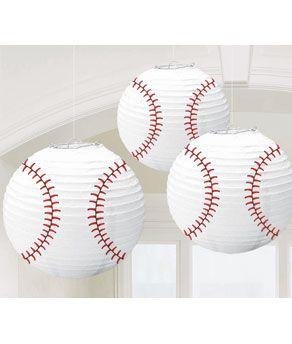 Set Of Three Baseball Hanging Paper Lanterns Birthday Party Decoration Sports
