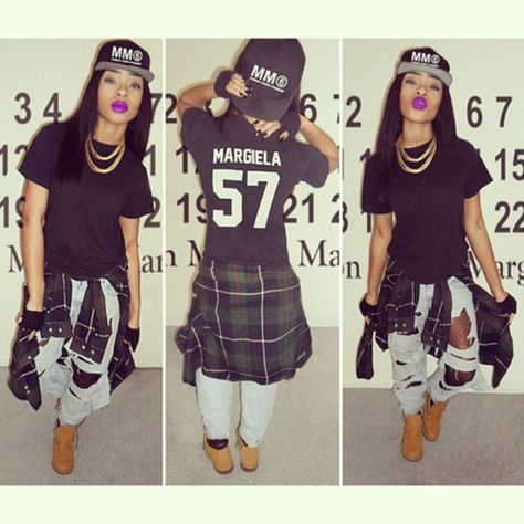 t-shirt dress with timberlands | black skirt ripped jeans timbalands jersey chain belt t-shirt cap ...