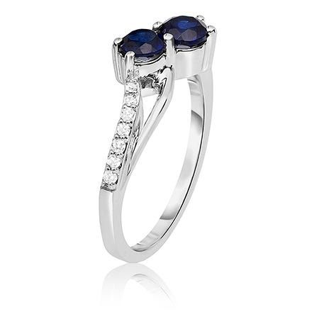 You Me Two Stone You Me Sapphire Diamond Ring In 10k White Gold Gemstone Diamond Ring Sapphire Diamond Ring Beautiful Rings