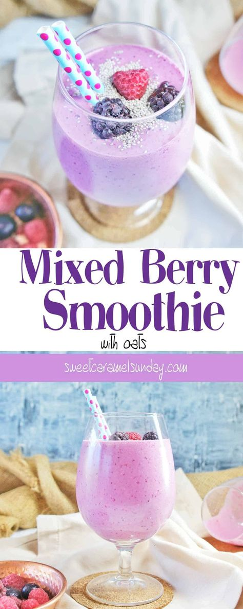 Mixed Berry Oat Smoothie | Sweet Caramel Sunday #breakfast #smoothie #smoothies #berry #berries #mixedberry #mixedberries #drink #drinks #oatmeal #oatmealrecipeshealthy #raspberry #oatmealrecipes #breakfastrecipes #breakfastideas #smoothierecipes #drink #foodphotography #foodphoto #sweetcaramelsunday