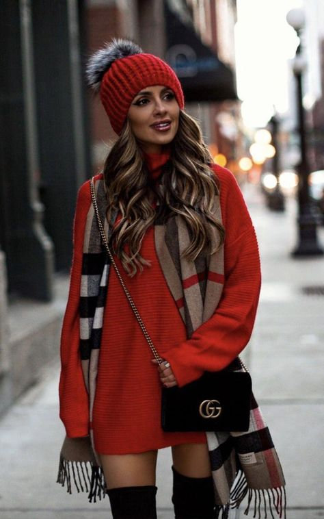 40 Outstanding Casual Outfits To Fall In Love With: Casual outfits for spring & fall to get inspired by! If you're looking for causal outfit inspiration, casual everyday outfits and fashion ideas, these 40 beautiful outfits by fashion bloggers will motivate you to look trendy in no time. | Image by © MiaMiaMine / Red sweater dress with red pom pom hat outfit / #sweaterdress #Casualeverydayoutfits #casualoutfits #outfitsinspiration #casualoutfitinspiration #fallfashionoutfitschiccloset