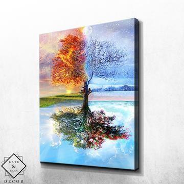 Four Seasons Tree Kate Son Decor Acrylic Painting Trees Lovers Art Painting