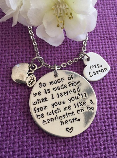 Personalized Teacher Necklace Teacher Gift by DesignsByTeraW