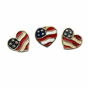 American Flag Red White Blue Heart Shaped Stud Earrings
