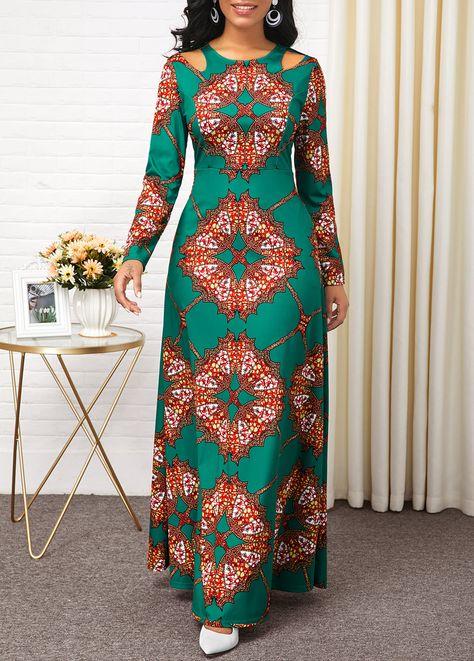 Long Sleeve Tribal Print High Waist Dress | Rotita.com - USD $36.09