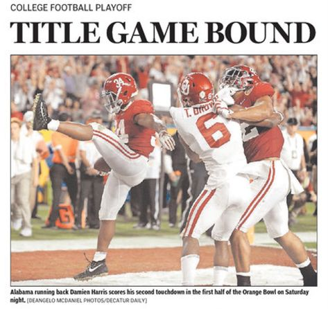 Title Game Bound From The Front Page Of The Decatur Daily Alabama