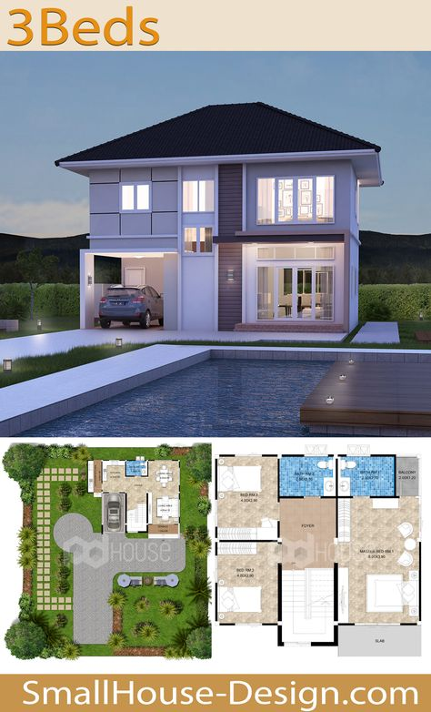 Small House Design Plans 11 x 9.5 with 3 Bedrooms. EARTH HOME SERIES Tropical Style Line EA-119, 2-story house. The House has 3 bedrooms, 3 bathrooms, 1 car parking, Usable area, 185 square meters, Land area 45 Square Wah, Plot size 14 meters wide 13 meters long.