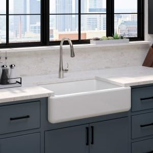 Kohler Whitehaven All In One Undermount Cast Iron 33 In Kitchen Sink In White With Faucet In Stainless Steel 2 Piece 5827 0 596 Vs Apron Front Kitchen Sink Single Bowl Kitchen Sink French Country Kitchens