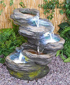 Cascade Chute D Eau Effet Pierre 5 Niveaux Avec Eclairage Led Fontaine De Jardin Caracteristiques D Eau De Jardin Bassin D Eau