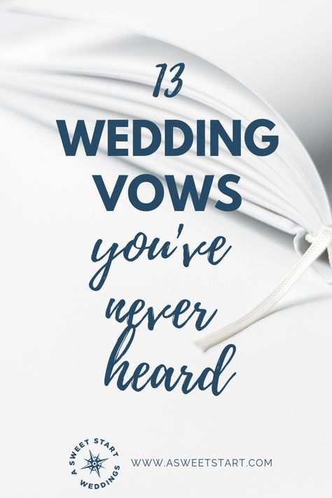 13 wedding vows you've never heard Many of my couple decide either not to write their own wedding vows or to use pre-written vows and their own personal wedding vows. We all know the traditional wedding vows : Wedding Ceremony Ideas, Wedding Ceremony Script, Unity Ceremony, Wedding Ceremonies, Wedding Readings Unique, Wedding Bells, Writing Wedding Vows, Writing Vows, Wedding Events