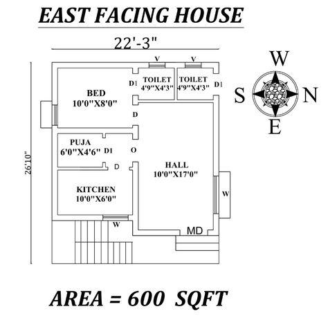 22 X27 1bhk East Facing House Plan As Per Vastu Shastra Autocad