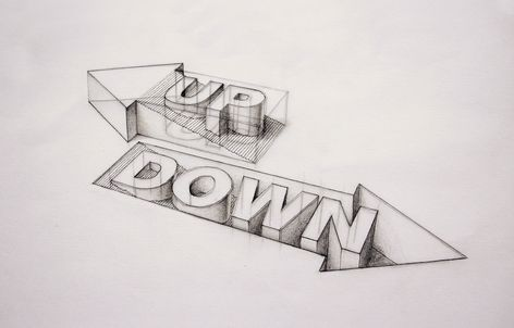 3D Type - Up/Down (with pencil workings) | Flickr - Photo Sharing!