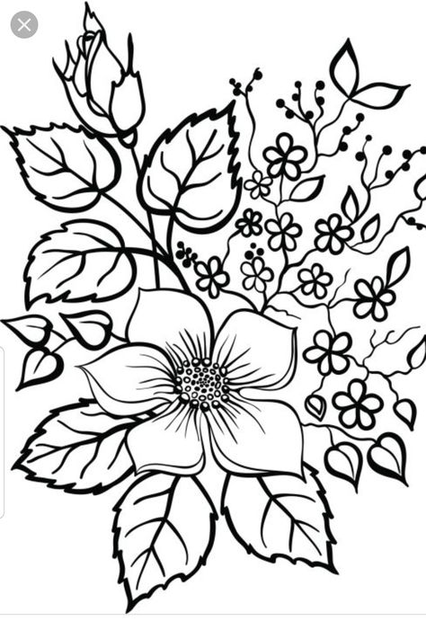 Pin By Maria Vargas Angulo On Bordado Livre Flower Outline Flower Drawing Flower Coloring Pages