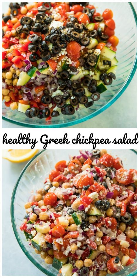 This Healthy Greek Chickpea Salad is the perfect lunch, side dish, or even snack! It's fresh, crisp, and has a great balance of healthy fats, carbs and protein!