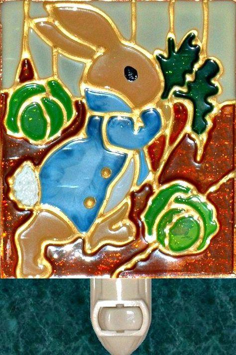 Decorative Peter Rabbit Night Light Wall Plug In Nursery Stain Glass Nightlight