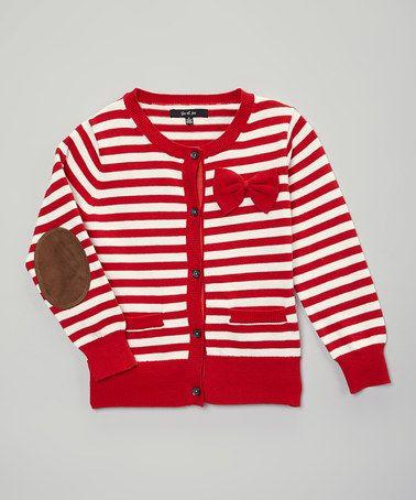 Loving this Red Stripe Elbow Patch Cardigan - Toddler & Girls on #zulily! #zulilyfinds