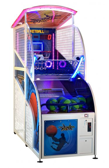 I Love How This Arcade Basketball Machine Has The Blue Pink And Purple Colors The Lighting On Top And Around Arcade Basketball Arcade Arcade Games For Sale