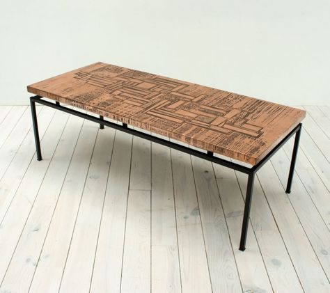 For Sale 1960s Red Copper Abstract Coffee Table Coffee Table