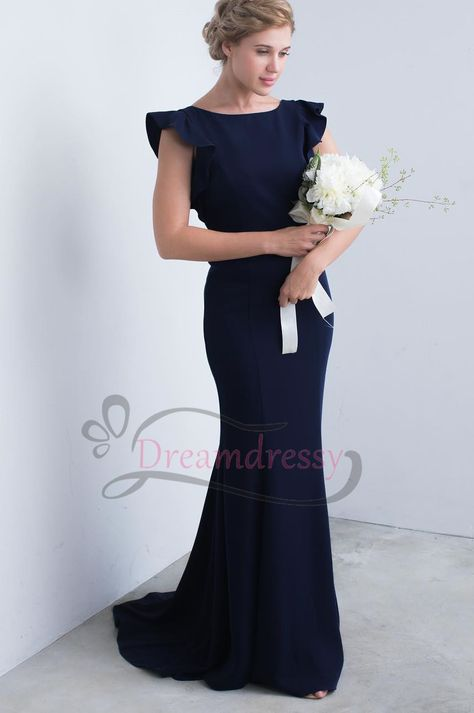 Simple Navy Blue Long Bridesmaid Dress With Cap Sleeves Long Navy Blue Bridesmaid Dresses Mermaid Bridesmaid Dresses Bridesmaid Dresses Long Blue
