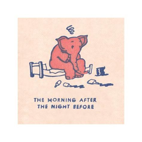 Pink Elephant (Morning After), The Cellar Bar, San Francisco's Geary Theatre 1930s Menu Art