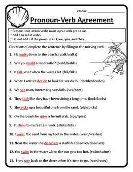Pronoun Verb Agreement Worksheet Pronoun Verb Agreement Worksheet
