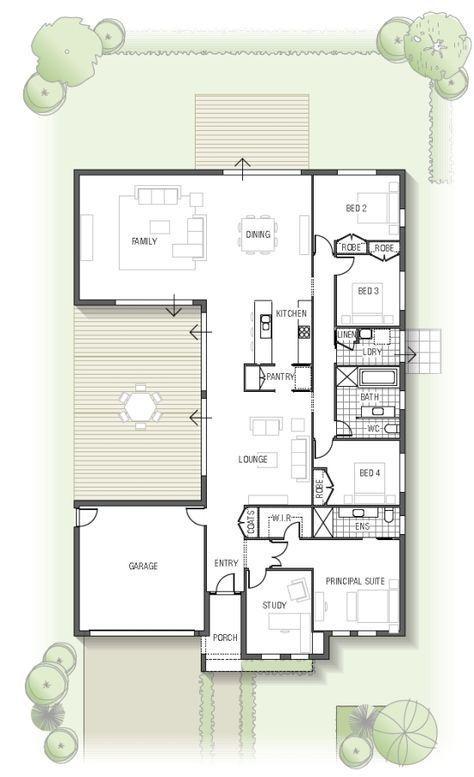 Maison en U Plan de 11 pièces et 220 m2 maison LALY Pinterest - Faire Les Plans De Sa Maison En D