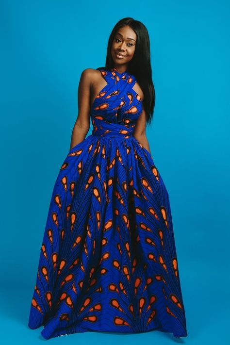 African print infinity dress Can be worn more than 6 different ways 2 side pockets Elastic Back 100% cotton Made with high quality African print wax fabric Skirt measures approximately 45 inches S - Bust: 34-36 Waist: 26-28 Hips: 36-38 M - Bust: 37-39 Waist: 29-31 Hips: 39-41 L - Bust: 40-42 Waist: 32-34 Hips: 42-44 1X - Bust: 43-45 Waist: 36-38 Hips: 45-48 2X - Bust: 46-48 Waist: 40-42 Hips: 49-51 3X - Bust: 49-51 Waist: 44-...