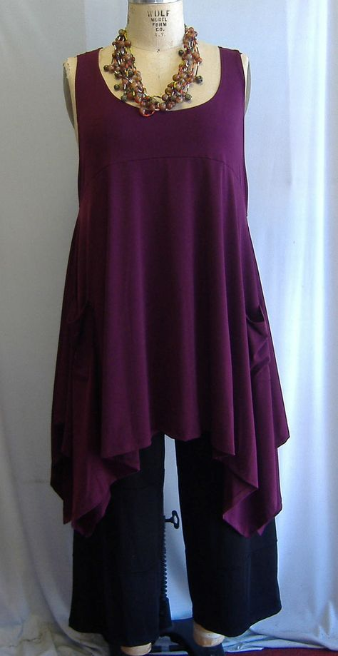617d0cffb71 Coco and Juan Plus Size Top Lagenlook Layering Tunic Top Burgundy Traveler  Knit Size 1 Fits 1X