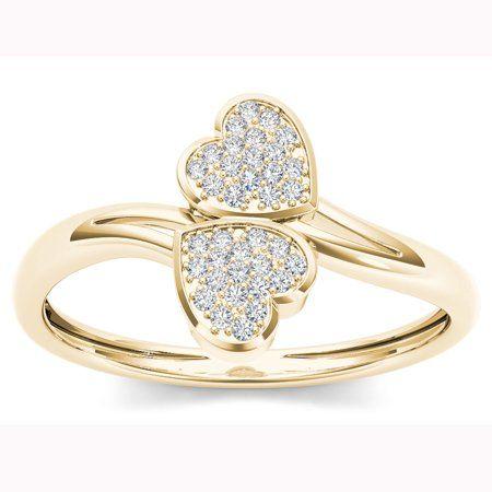 10K Yellow Gold Heart-shape Cubic Zirconia CZ Bypass Wrap Fashion Ring