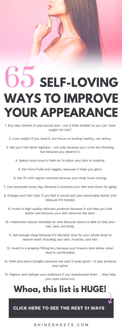 How to improve your appearance in a loving, self-compassionate and caring way? Get a love-filled list of positive ideas & improve your looks today! | ShineSheets.coom | How to look better, Improve the way you look, Change your appearance, Beauty improvement, Improve your style, Personal development, Self improvement, Beauty tips, Beauty ideas, Body positivity, How to love yourself, Self care, Self love #improveyourself #selflove #beauty #beautytips #selfimprovement #personaldevelopment #looks