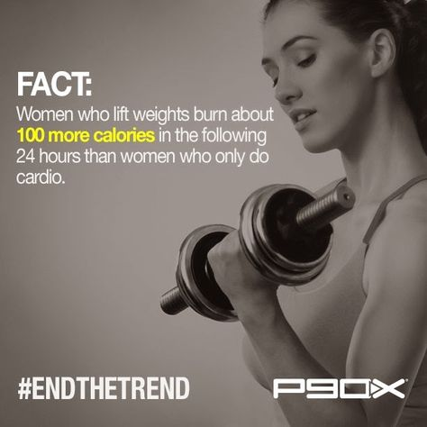 Fact:  Women who lift weights burn 100 more calories in the following 24 hours, than women who do only cardio.  --- Ladies, let's pick up the weights!