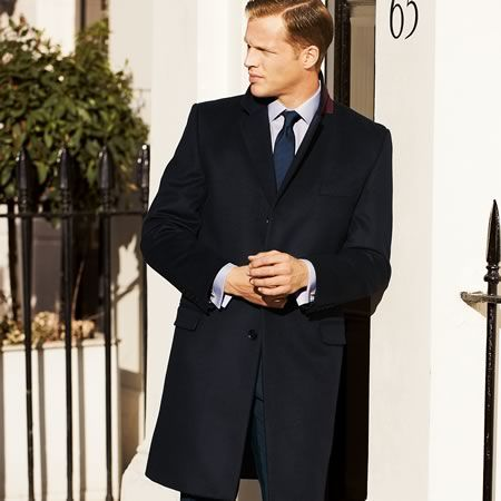 Navy wool cashmere classic fit overcoat | Men's coats from Charles ...