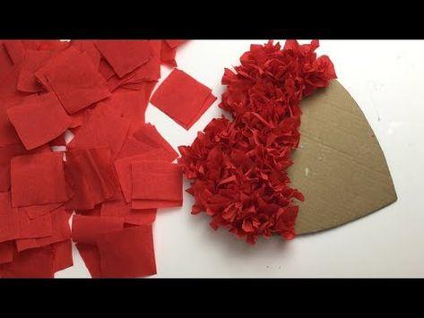 Crepe Paper Crafts, Crepe Paper Roses, Valentine Gifts For Kids, Valentine Day Crafts, Craft Stick Crafts, Easy Crafts, Disney Diy Crafts, Valentine's Day Crafts For Kids, Crochet Decoration