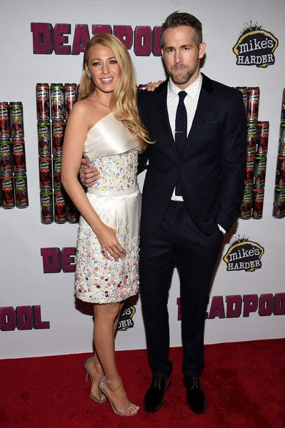 "Actors Blake Lively (L) and Ryan Reynolds attend the ""Deadpool"" fan event at AMC Empire Theatre on February 8, 2016 in New York City."