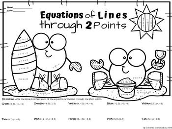 Equations Of Lines Through 2 Points Color By Number Worksheet