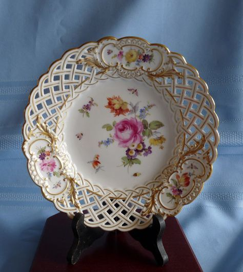Gorgeous Meissen vintage hand painted Floral and Gold Reticulated Floral Basket style dish