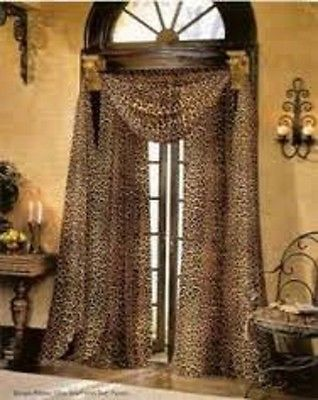 3PC LEOPARD BROWN 2 SHEER 1 SCARF WINDOW CURTAIN VALANCE TREATMENT | Home & Garden, Window Treatments & Hardware, Curtains, Drapes & Valances | eBay!