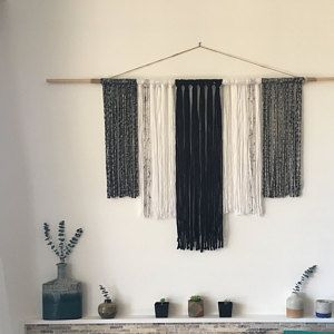 Yarn Tapestry Yarn Wall Hanging Black White And Gray In 2020