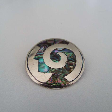 Vintage Mexico Alpaca Silver & Abalone Pin Brooch/Pendant | Etsy