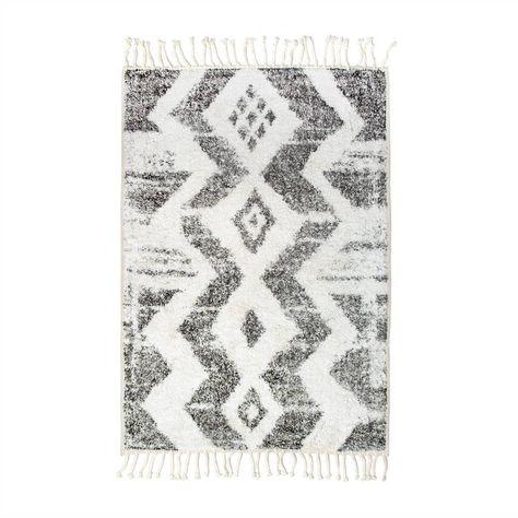 Hk Living Tapis Zigzag Tapis De Bain En Coton Blanc Gris