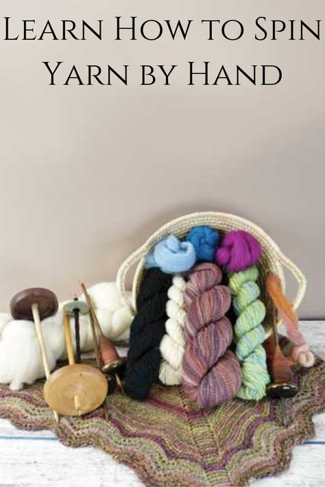 Learn how to make your own yarn with a hand spindle. Make your own yarn with a hand spindle, a tool that's hardly changed since the Stone Age. Everything from needed tools to how to get started. Spinning Wool, Hand Spinning, Spinning Wheels, Crochet Yarn, Knitting Yarn, Drop Spindle, Crochet Supplies, Bead Loom Patterns, Yarn Projects
