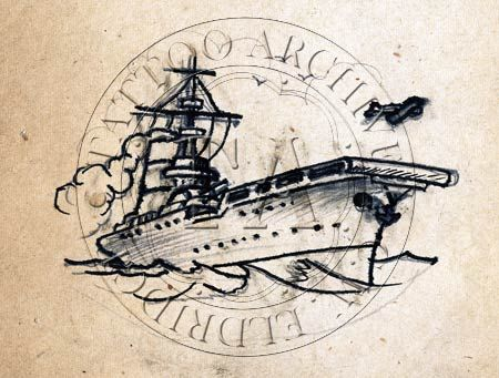 ship drawings navy tattoo | carrier tattoo design with airplane by Cap Coleman, 1960s.