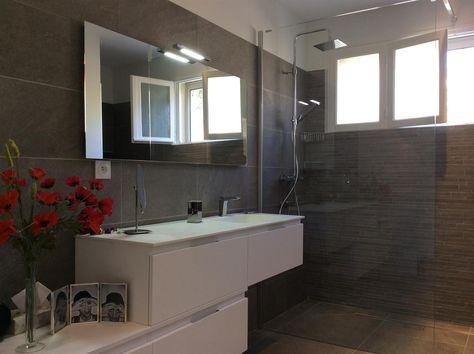 Douche italienne meuble vasque asymétrique   salle bains en ...