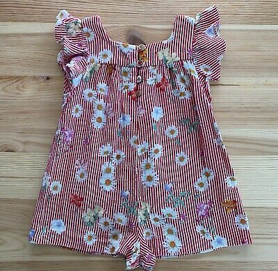 Advertisement Ebay Zara Baby Girl Red Stripe Floral Romper Outfit Size 9 12 Months