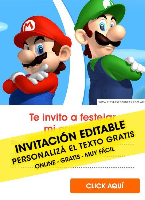 Tarjeta De Cumpleaños De Super Mario Bros Invitaciones De Mario Bros Invitaciones Mario Bross Cumpleaños De Mario Bros