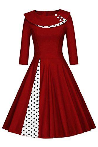 Damen 50 Jahre Kleid Rockabilly Festkleider Weihnachtskleid Standesamt Polka Dots Knielang Wein Rot Xxl Kleider Kleider 50er Vintage Kleider