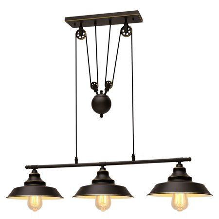 Home Rustic Chandelier Pulley Pendant Light Wall Mounted Lamps
