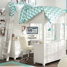 Marvelous Sleep + Study Loft(R) , Full, Water Based Weathered White | Teenager Girl, Bunk  Bed And Desks