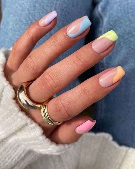 Acylic Nails, Nagellack Design, Best Acrylic Nails, Acrylic Nails For Spring, Acrylic Nails Pastel, Cute Spring Nails, Simple Acrylic Nails, Almond Acrylic Nails, Almond Nails