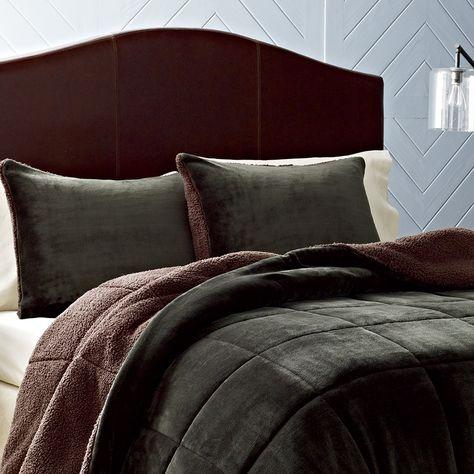 Beau Eddie Bauer Premium Fleece Dark Pine Comforter Set. #winterbedroom